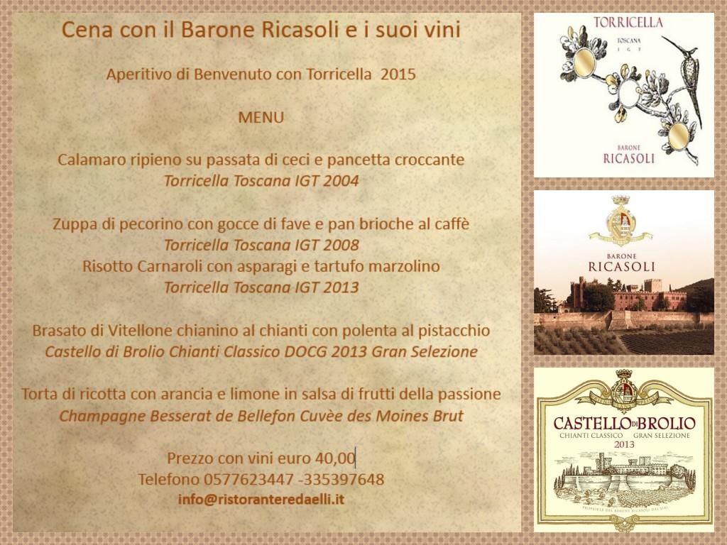 17 Marzo 2017  Cena con il Barone Ricasoli e i suoi vini